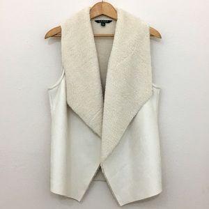 Lauren Ralph Lauren white faux fur open vest